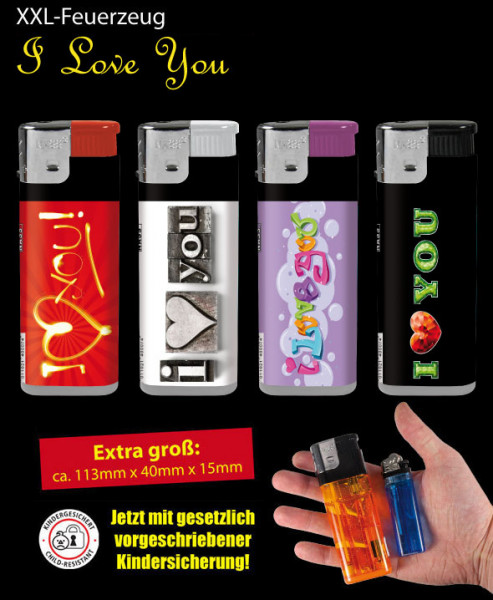 XXL Feuerzeug I Love You